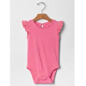 Baby Gap pink eyelet flutter sleeve bodysuit new